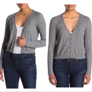 NWT Abound gray knit crop sweater Sz small